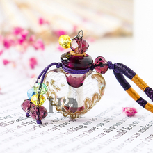 H&D Beautiful Murano Crystal Glass Essential Oil Diffuser Heart Perfume Bottle Necklace Best Handmade Gift For Women & Girls(China)