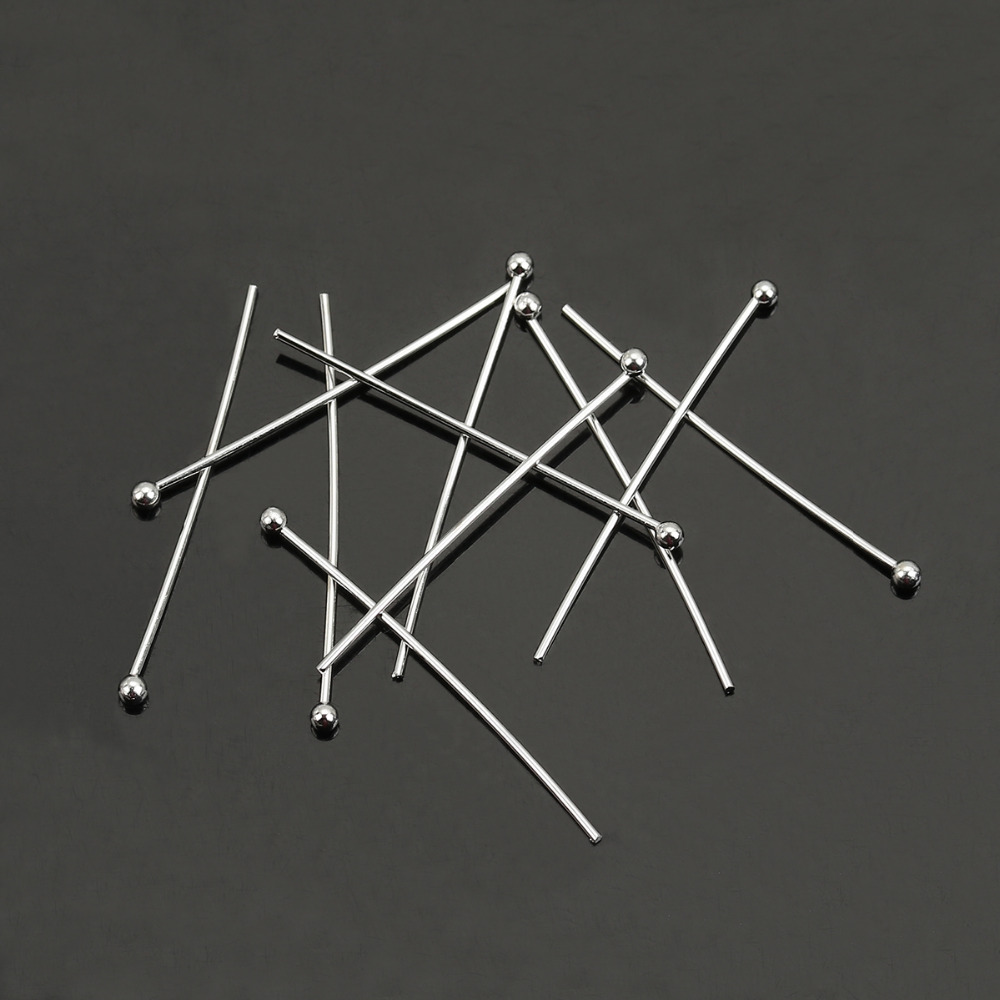Wholesale Lots Silver Plated Ball Head Pins 0.5x35mm 24 gauge