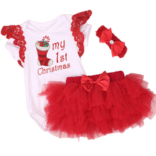New Fashion Christmas Summer BABY Bodysuits Tutu Dress 1st XMAS girls clothes infant cartoon baby romper bebe baby girl clothing