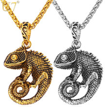 U7 Statement Necklace For Men Chain Kpop Jewelry Gold Color Stainless Steel Chameleon Dragon Animal Necklaces & Pendants P594(China)