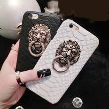 Snake Skin Lion head PU Leather Hard Case For iPhone 7 6 6S Plus Phone Fashion Protective Stand Holder Cover Back Capa lina(China)