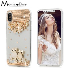 Buy Handmade Crystal 3D Diamond Back Cover Glitter Bling Rhinestone Phone Case iPhone X 7 8 Plus Case Capa Coque Fundas for $3.75 in AliExpress store
