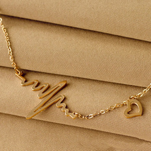 Body Necklace 2017 Fashion jewelry Heart Beat Pendant Necklace Titanium gold color plated Chain Pendants & Necklaces For Women