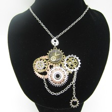 New Development Mulitple Gears Well Placed DIY Steampunk Necklace Vintage Pendant Jewelry(China)