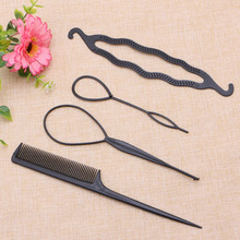 New Hair Twist Styling Clip Stick Bun Maker Braid Tool Comb Hair Accessories 4 Pcs Hot Sale(China)