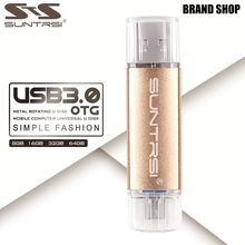 Suntrsi USB Flash Drive 64GB OTG USB 3.0 Pendrive High Speed Metal USB Stick Pen Drive Customized Logo USB Flash Pendrive 64GB(China)