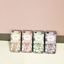 Mr.Orange Ring Grip Lace Flower Pattern Mobile phone bag For iphone 6 6s 7 7plus Ultra-thin Back Cover Half Rose capa Fundas