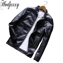 Hndjxxxy 2017 new Autumn and winter clothing collar jacket Mens youth men's PU simulation of locomotive body type jacket(China)