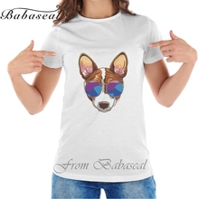 Buy Babaseal Fashion Print T Shirts Queen Dinosaur T-shirts Vector Hipster Serious Dog Basenji Glasses Tees Designer Brand Tops for $6.99 in AliExpress store