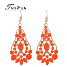FANHUA Brincos De Festa Esmaltes Earrings indian jewelry Big Dangle Earrings Fashion Gold-Color Wholesale Jewellery(China)