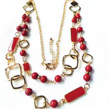 2017 New Fashion Red Necklace Multi Layer Necklaces Beads Enamel Jewelry Gold Necklace Women Nickel Free Wholesale Duftgold