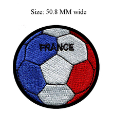Soccer Ball France embroidery patch 50.8 MM wide /souvenir medal/romance/hot cut craft(China)