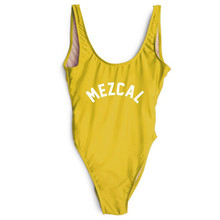MEZCAL Letter Print Swimwear One Piece High Waist Funny Swimsuit Thong Yellow Bathing Suit Beach Wear Bikini SQUAD Monokini