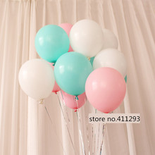 20pcs/lot light pink balloons tiffany blue ballon wedding globes birthday baby shower 10inch 2.2g thicken latex balloon(China)