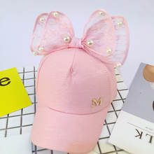Luxury Big Bow Fashion Summer Kids Black White Pink Lace Floral Baseball Caps With Pearl Children Sun Hats