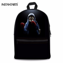 INSTANTARTS Casual Boys Girls Canvas Backpacks Cute 3D Boxinger Cat/Kitty Print Teenagers Rucksacks Students Lap Top School Bags(China)