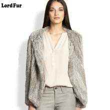 (Lord Fur) Lady Real Knitted Rabbit Fur Jacket Coat O-Neck Autumn Winter Women Fur Slim Outerwear Coats LF4011