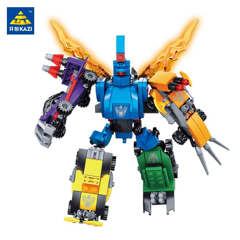 KAZI 6 in 1 Trans Robot Action Block 340+ pcs Bricks Building Model Set Best Educational Toys Gift For Children
