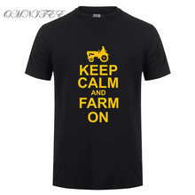 Omnitee Men Summer Keep Calm And Farm On T Shirts Men Cotton O-neck Short Sleeve Farmer T Shirt Mans T-shirt OT-835