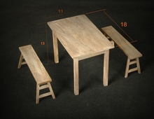 Promotion ! 1:6 a table and two benches action figure Scene, 1/6 Solid wood Military  model Designed for the 1/6 toy fans
