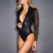 Buy CFYH 2018 New Sexy Black Catwomen Jumpsuit Grenadine Sleeve Latex Catsuit Costumes Women Body Suits Fetish Leather Jumpsuit