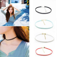 Simple Style Rivet Faux Leather Collar Korea Style Pattern Necklace Fashion Lady  FREE SHIPPING