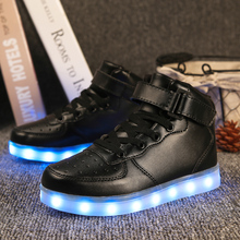LED Light Up Shoes Gold High Top girls and boys luces dorado Fashion USB Charge Red kids Casual Luminous sneakers for children(China)