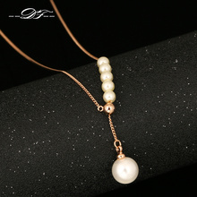 DFN591 Adjustable Charm Necklaces & Pendants Rose Gold Color/Silver Tone Fashion Simulated Pearl Beads Jewelry For Women