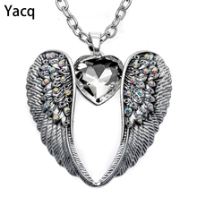 Buy YACQ Guardian Angel Wing Heart Necklace Antique Silver Color Women Girls Biker Bling Crystal Jewelry Gifts Dropshipping NC06 for $6.99 in AliExpress store