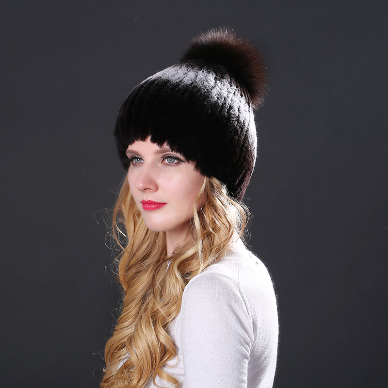 Woman Winter Hat With Real Rex Rabbit Fur Knitted Genuine Fur Beanies Hats Russian Natural Rex Rabbit Fur With Fox Fur Pom Caps Одежда и ак�е��уары<br><br><br>Aliexpress