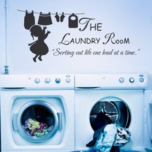 "Laundry Quote - The Laundry Room Sorting Out Life One Load At A Time-Vinyl Wall Decal Laundry Girl Wall Art Sticker 34"" x 15"" M"