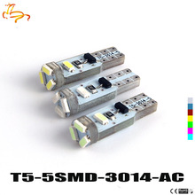 1pcs AC T5 3020 1206 3014 5SMD Canbus Free Error Wedge Car LED Bulb Lamp Interior Dashboard Gauge Light Bulbs Pure White AC 12V