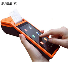 "V1 Handheld Takeout Receipt Printer 5.5"" Display Wifi /3G/Bluetooth Mini Android 5.1 Pos Terminal Printer Barcode Scanner(China)"