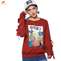 4XL Harajuku Fashion Women Sweatshirt With Hole 2017 Winter Long Sleeve Loose Hoodies Clothing Plus Size Print Moletom Feminino