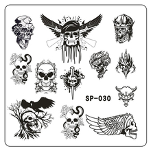 New 2017 Nails 1Pc Stainless Steel Halloween Skull Series Nail Art Template Nail Plates Fingernail Accessories SP030(China)