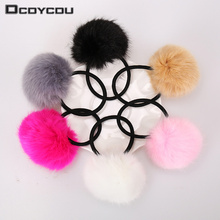 6PCS Artificial Rabbit Fur Ball Elastic Hair Rope Rings Ties Bands Ponytail Holders Girls Hairband Headband Hair Accessories(China)