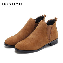New leather matte square head tightly closed dwarf boots breathable inside non-slip rubber bottom low with thick with boots(China)