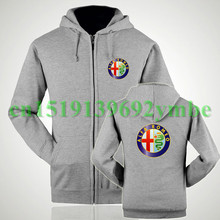 2 styles Fall and winter clothes hedging sweatshirts hoodie cotton mark Alfa Romeo zipper hoodie cars for women and men(China)