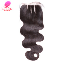 QUEEN BEAUTY HAIR Lace Closure Body Wave Bleached Knots 4*4 Lace Unprocessed Virgin Human Hair Three Part Brazilian Hair Closure