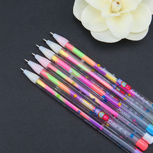 2PC 6 Color in 1 Gel Pen For Office Student Ink Pen Chalk Pens Pencil Creative Gifts Stationary Office Supllies