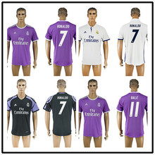 GT Thailand Quality Real madrid soccer Jerseys New Font 16 17 RONALDO white Purple Third Black JAMES BALE RAMOS ISCO MODRIC OO