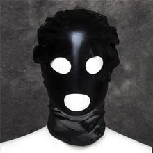 Light Patent Leather Mask Sex Products Open Mouth Eyes 3 Hole Adult Game Fetish Sex Mask Bondage Hood Sex Toys For Couples