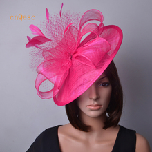 Hot pink Ladies hat Big sinamay fascinator feather fascinator with sinamay loops&veiling for weddings,races,party,Derby Kentucky(China)