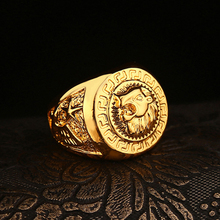 Cost Price High Quality Gold Hip Hop men's Punk style Rapper lion head star rings Gold Finger Rapper Ring men(China)