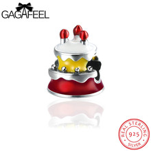 GAGAFEEL Birthday Cake Charm Beads Fit For Pandora Bracelet Necklaces 925 Sterling Silver Jewelry Red Color Enamel Design Hot