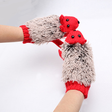 Fashion Autumn Winter Women Animal Gloves Mittens Cute Cartoon Knitted Hedgehog Gloves Girls Full Finger Gloves(China)