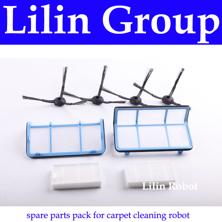(For X500) Spare Parts Pack for Carpet Cleaning Robot, Including Side Brush x 4pcs + Primary Filter x 2pcs + HEPA Filter x 2pcs<br>