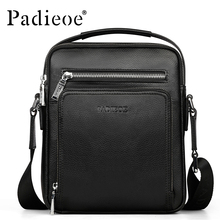 PADIEOE Brand 100% Genuine Leather Men Messenger Bag Casual Crossbody Bag Business Men's Handbag Bags for gift Shoulder Bags Men