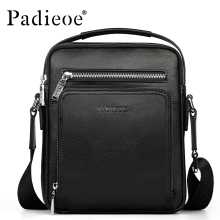 PADIEOE Brand 100% Genuine Leather Men Messenger Bag Casual Crossbody Bag Business Men's Handbag Bags for gift Shoulder Bags Men(China)
