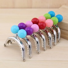 Mini lovely Large candy ball bead head Kiss Clasp Silver arc-shaped 8 CM Thick Metal Purse frame handle for bag sewi 10pcs/lot(China)